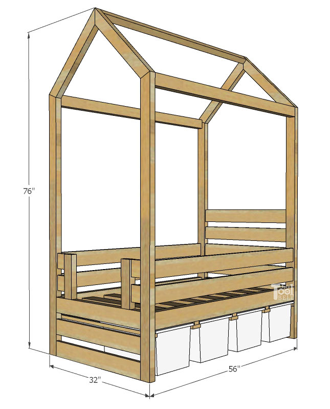 overall dimensions - Free plans to build a house frame toddler bed with under the bed storage bins.