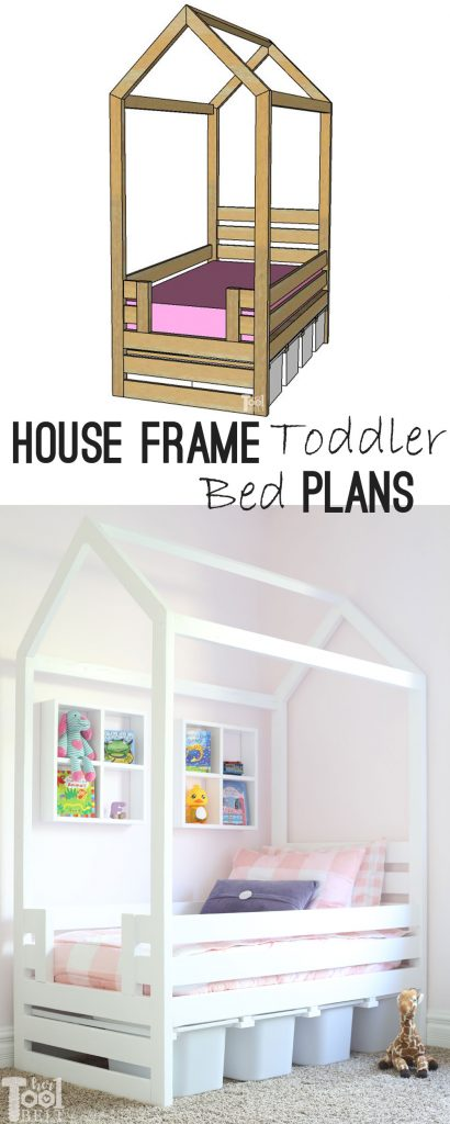Free plans to build a house frame toddler bed with under the bed storage bins. The lumber price to build this bed is about $42!