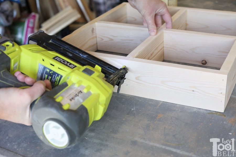 Using Ryobi airstrike to assembly window shadow box shelves.