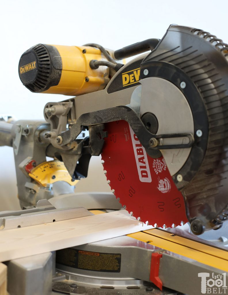 Fresh Diablo saw blade for clean cuts. Using DeWalt miter saw and Diablo blade to cut window shadow box shelf boards.