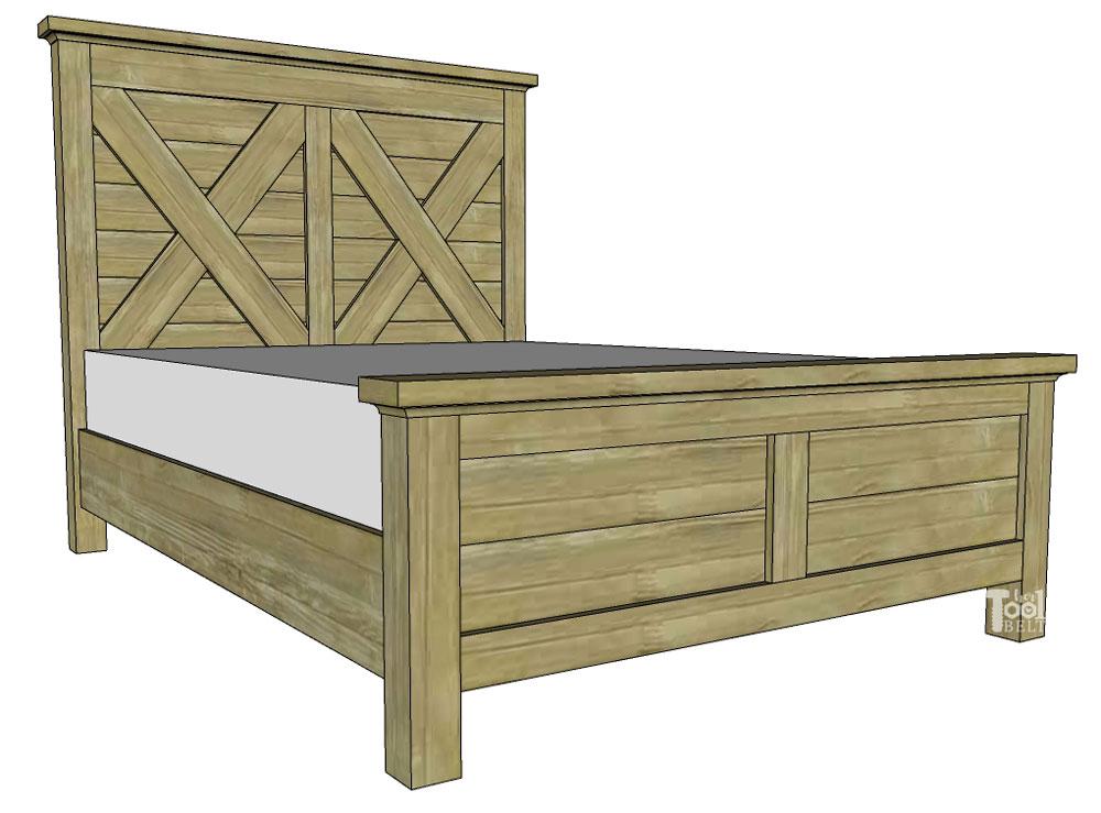 Queen X Barn Door Farmhouse Bed Plan, Width Of Headboard For Queen Size Bed