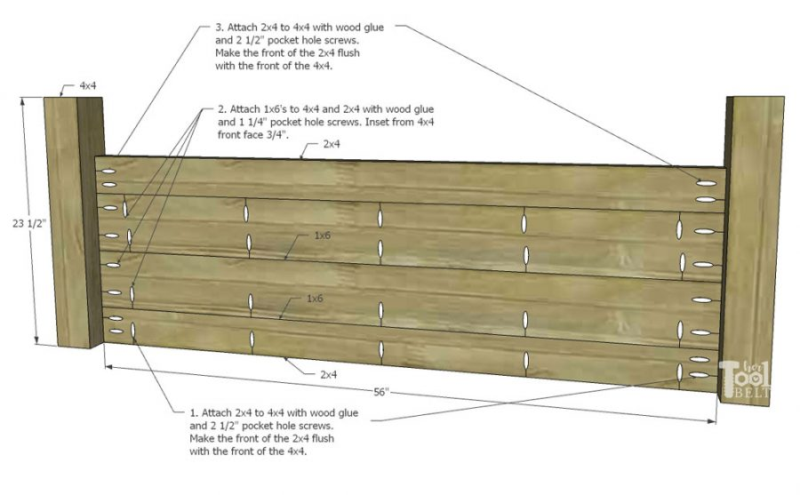 Building plans for a X barn door farmhouse style bed in queen size.