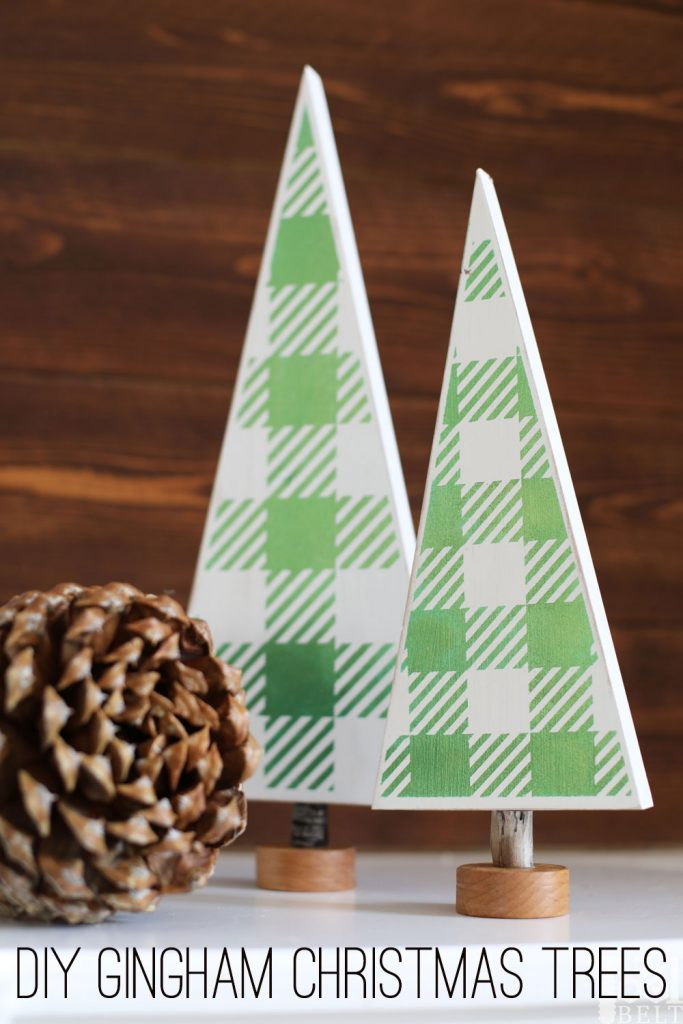 DIY green and white gingham Christmas Trees for your table top decor. Free vinyl template file to make your own.