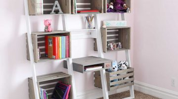 Leaning Crate Ladder Bookshelf and Desk