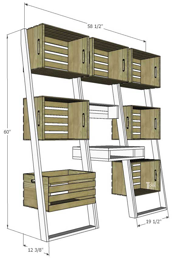 Free plans to build an easy leaning crate ladder bookshelf and desk system for kids. The crates are great to organize and store books and toys. Free plans on hertoolbelt.com