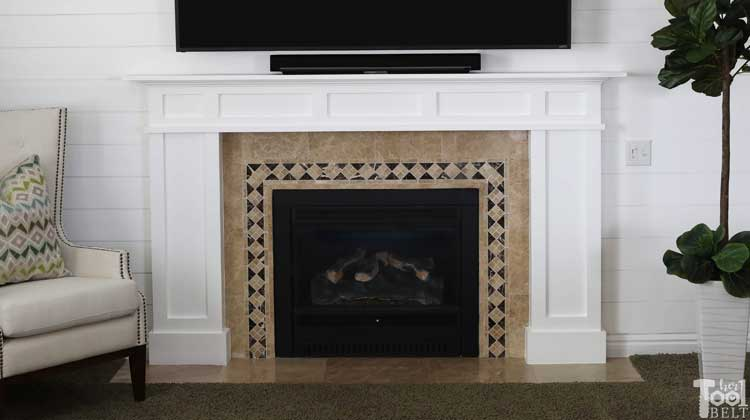 White Craftsman Mantel and Shiplap Wall Makeover