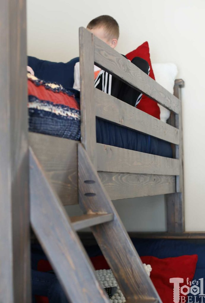 Save space in your kid's bedroom. Free plans to build a farmhouse style twin over full bunk bed. bunk guard rail