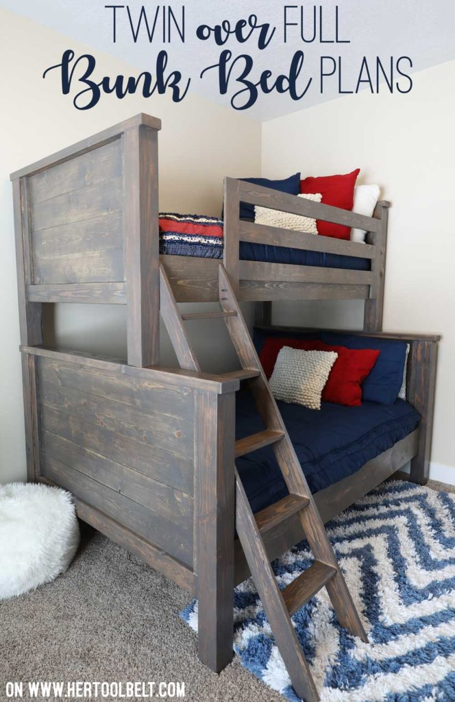 Save space in your kid's bedroom. Free plans to build a farmhouse style twin over full bunk bed.