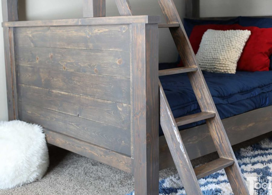 Save space in your kid's bedroom. Free plans to build a farmhouse style twin over full bunk bed. foot board