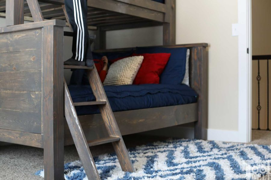 Save space in your kid's bedroom. Free plans to build a farmhouse style twin over full bunk bed. ladder angle