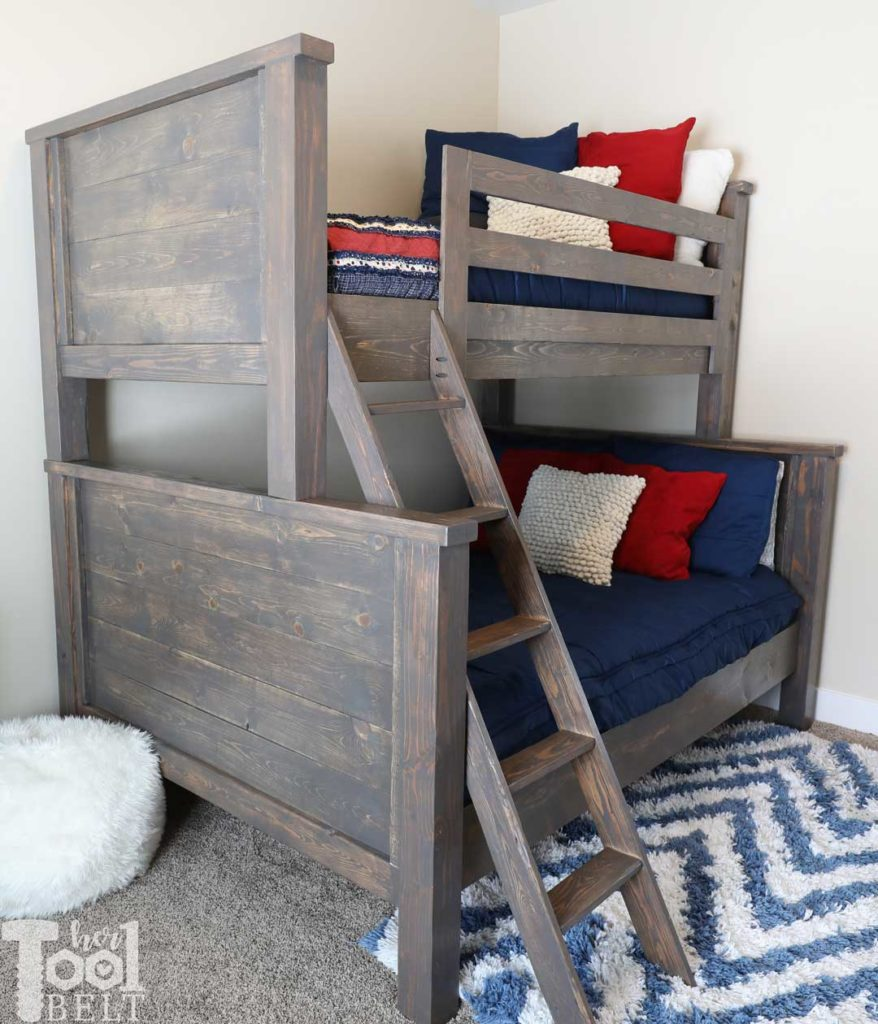 Save space in your kid's bedroom. Free plans to build a farmhouse style twin over full bunk bed. Red and Navy boys bedroom