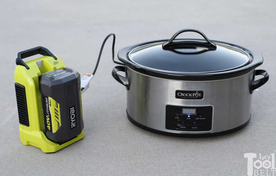 The inverter can power devices that are 300 watts or less. Battery powered crockpot. Tool Review of Ryobi's 40V battery power inverter.