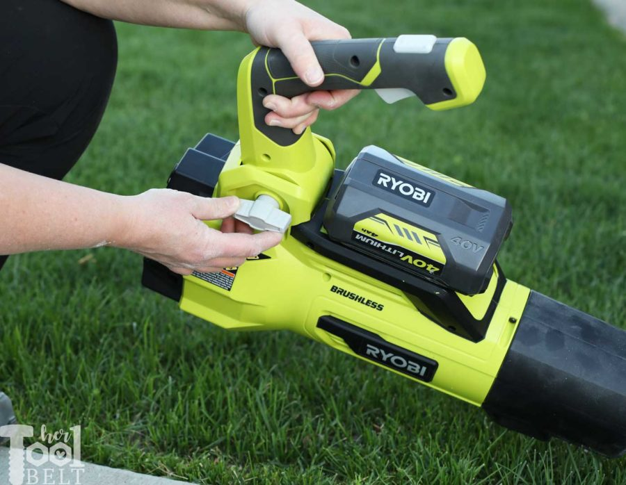 Adjust handle for a comfortable angle. Tool Review of Ryobi's 40V battery powered jet fan blower.