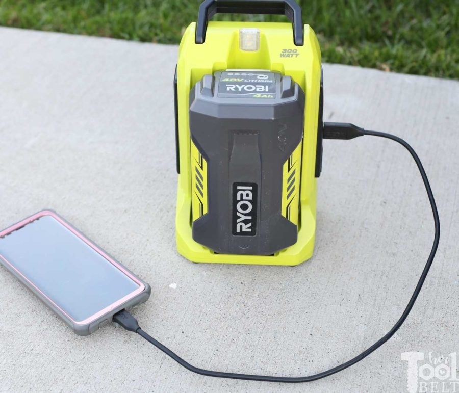Use inverter to charge cell phone or electronics with USB. Tool Review of Ryobi's 40V battery power inverter.