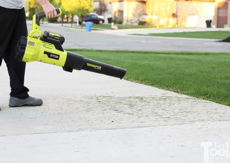 Clean off grass clippings from sidewalk. Tool Review of Ryobi's 40V battery powered jet fan blower.