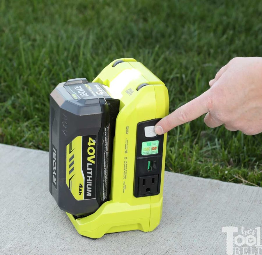 Turn on light. Tool Review of Ryobi's 40V battery power inverter.