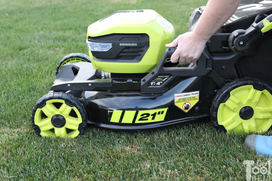 Adjust the mower height with a simple lever. Is a battery powered lawn mower as tough as gas powered? Check out this Ryobi 40 volt lawn mower review.