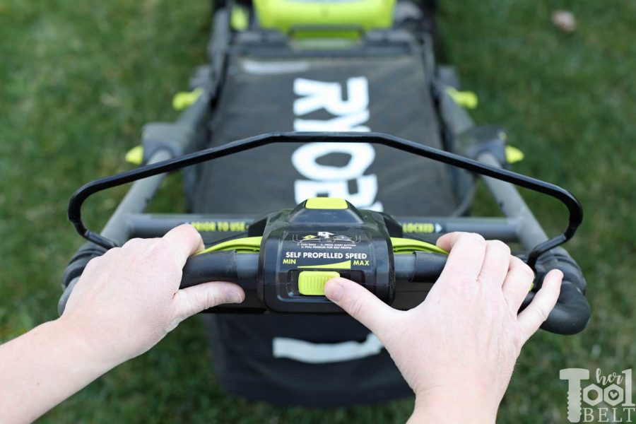 Adjusting the self propelled mower speed. Is a battery powered lawn mower as tough as gas powered? Check out this Ryobi 40 volt lawn mower review.