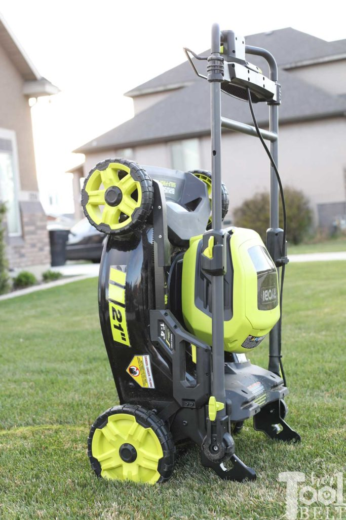 Store the Ryobi battery lawn mower up right for compact storage.