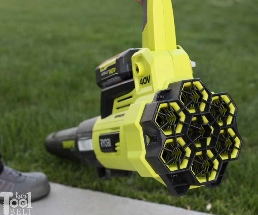 Blower air intake ports. Tool Review of Ryobi's 40V battery powered jet fan blower.