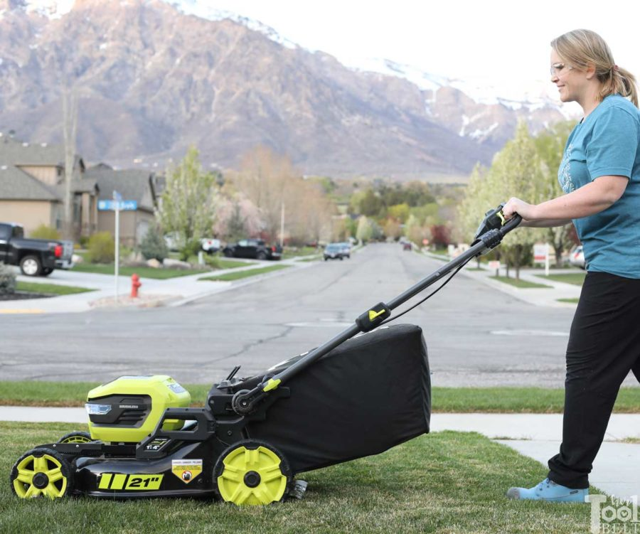 Ready to mow.  Is a battery powered lawn mower as tough as gas powered? Check out this Ryobi 40 volt lawn mower review.