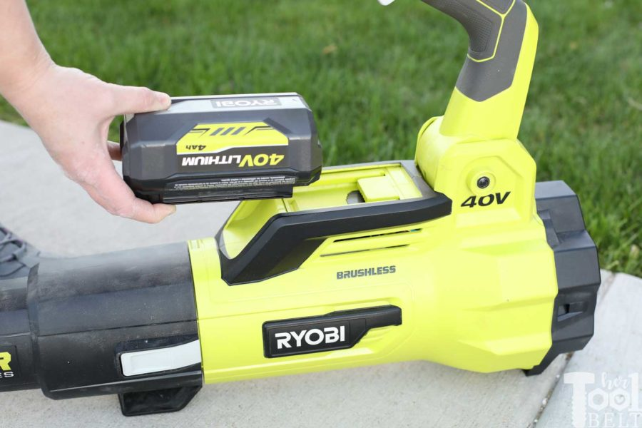 Install 40V battery. Tool Review of Ryobi's 40V battery powered jet fan blower.