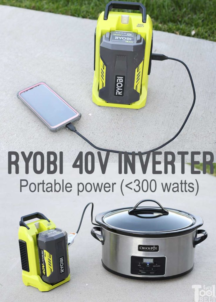 Power on the go from your yard equipment batteries. Ryobi 40V battery converts to 120V, up to 300 watts.