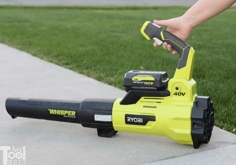 Press trigger. Tool Review of Ryobi's 40V battery powered jet fan blower.
