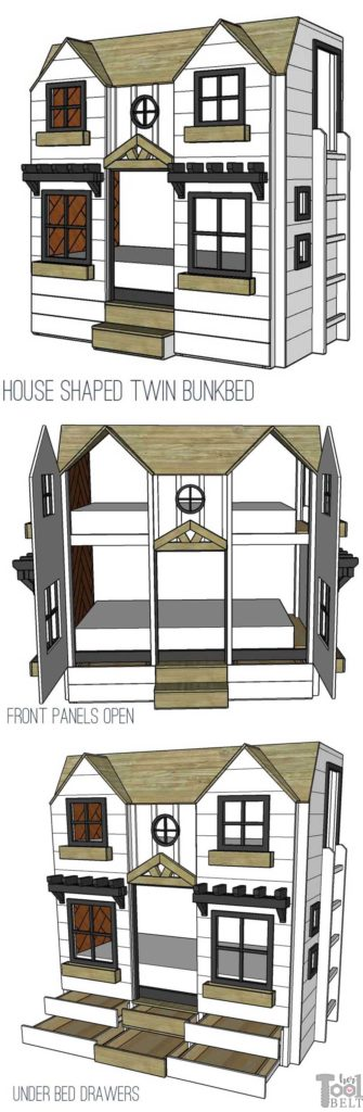 Build a super fun twin bunk bed that looks like a tiny house. Add tons of storage with under the bed drawers. Front panels open for easy access to change bedding. Free plans on hertoolbelt.com