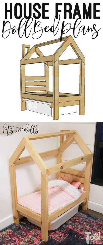 """Super cute doll bed that is shaped like a house frame. The house frame doll bed is a great way to use up scrap wood and will fit 18"""" dolls and more. Add storage under the bed with a cheap IKEA bin."""
