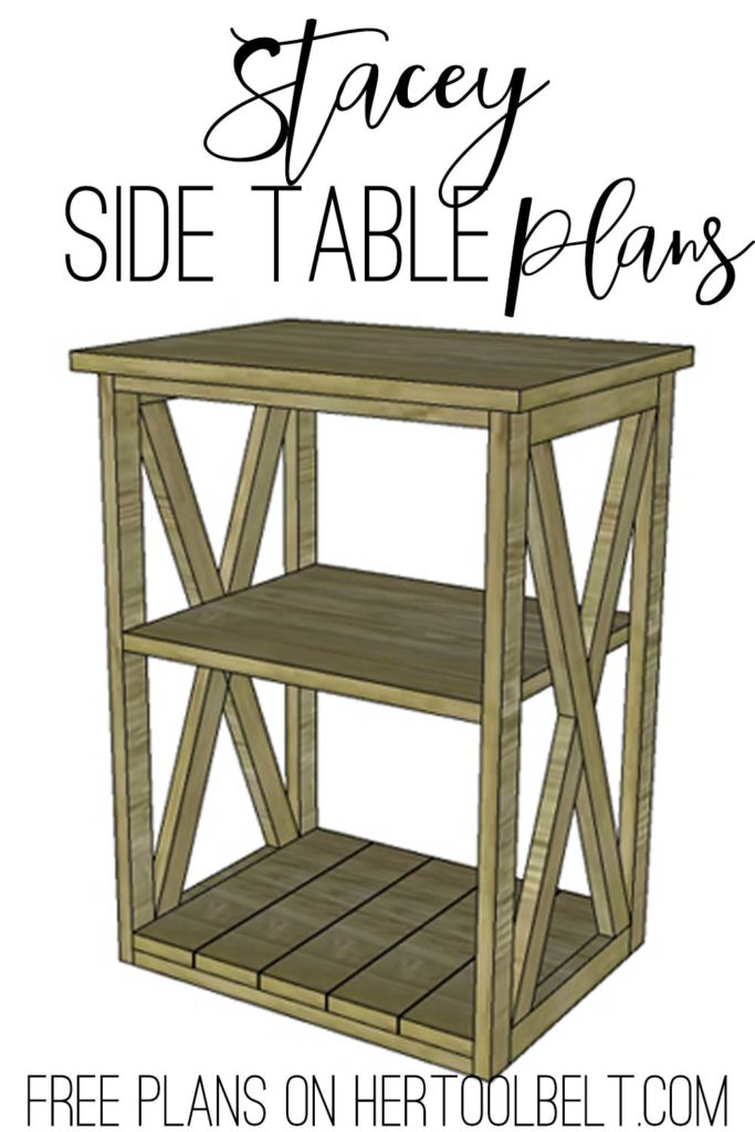 Free plans to build the Stacey side table. Perfect little accent table with X detail.