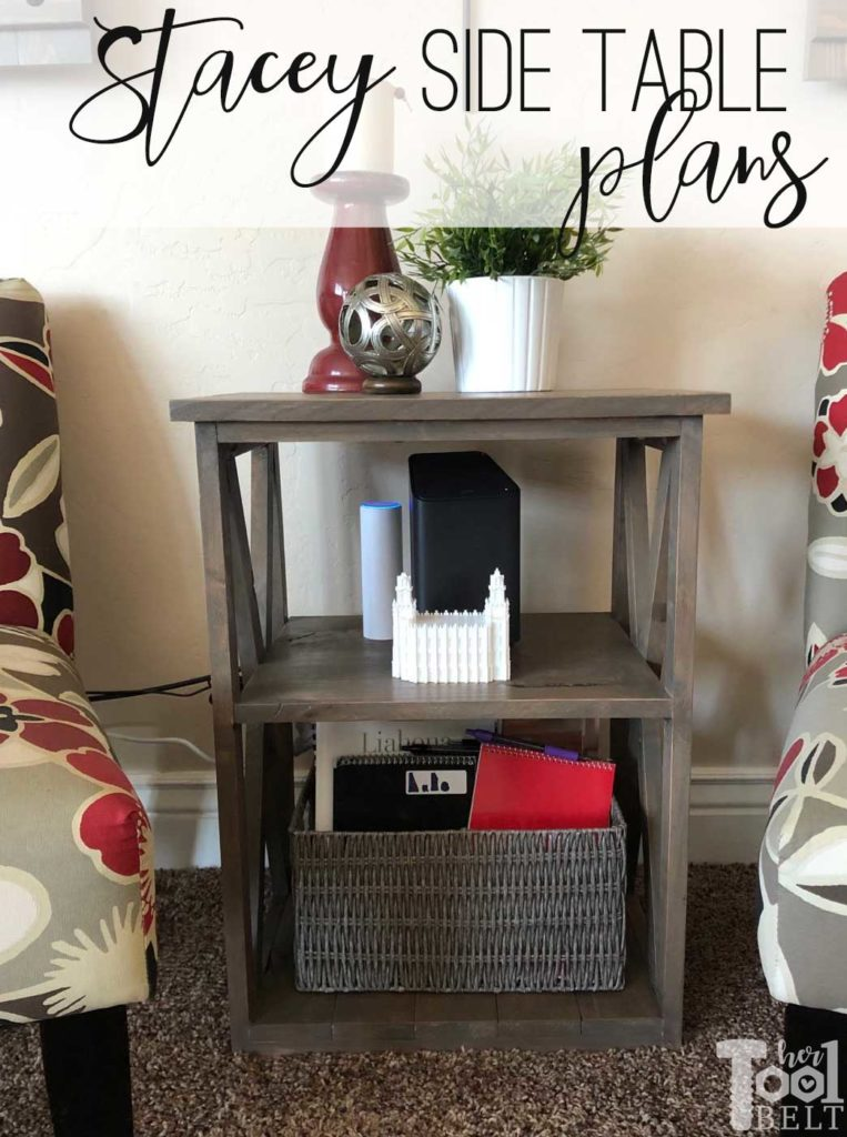Free plans to build the Stacey side table. Perfect little accent table with X detail. She uses the table to hold her Xfinity router (Comcast).