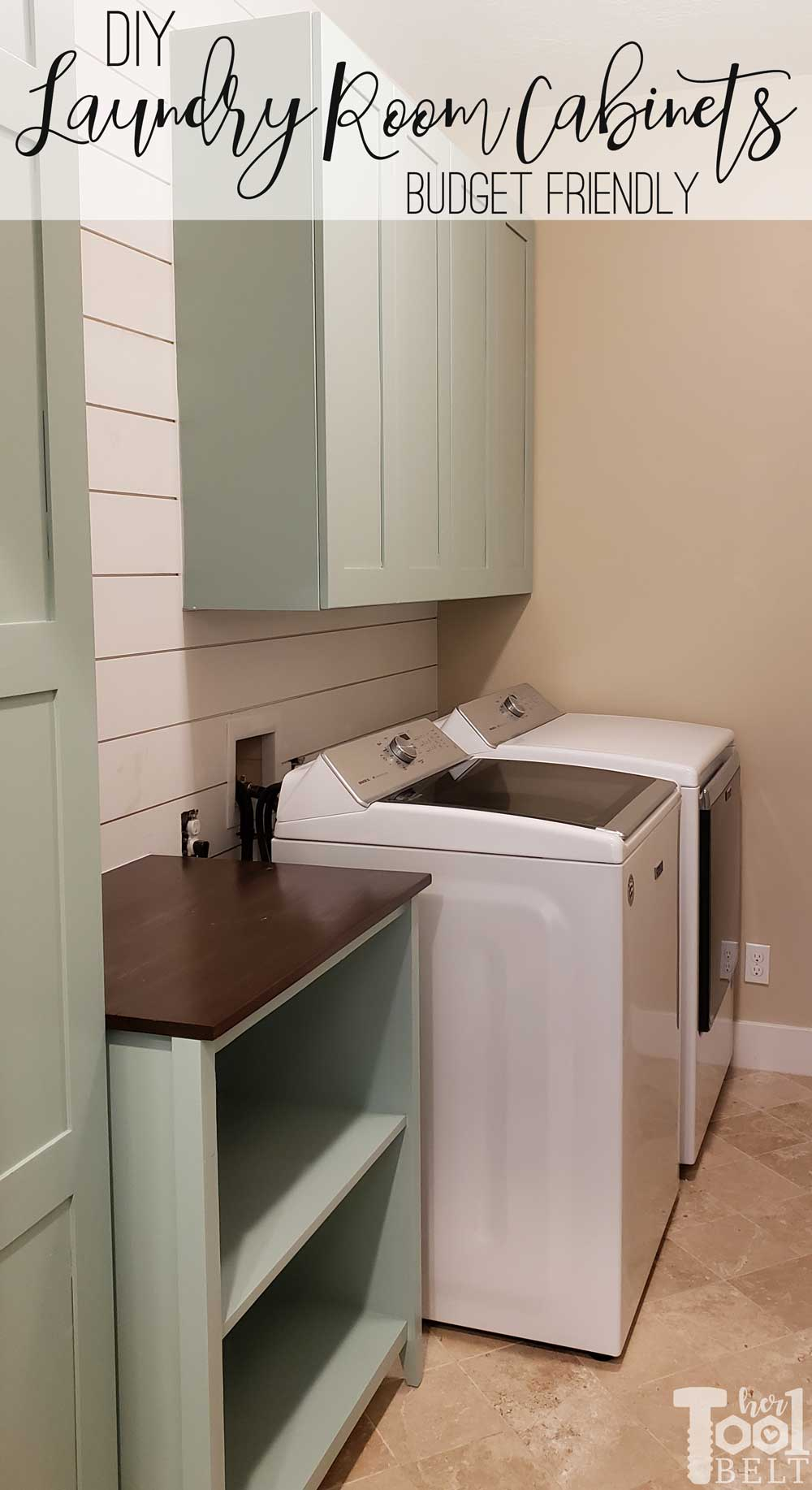 DIY Budget friendly laundry room cabinet plans   Her Tool Belt