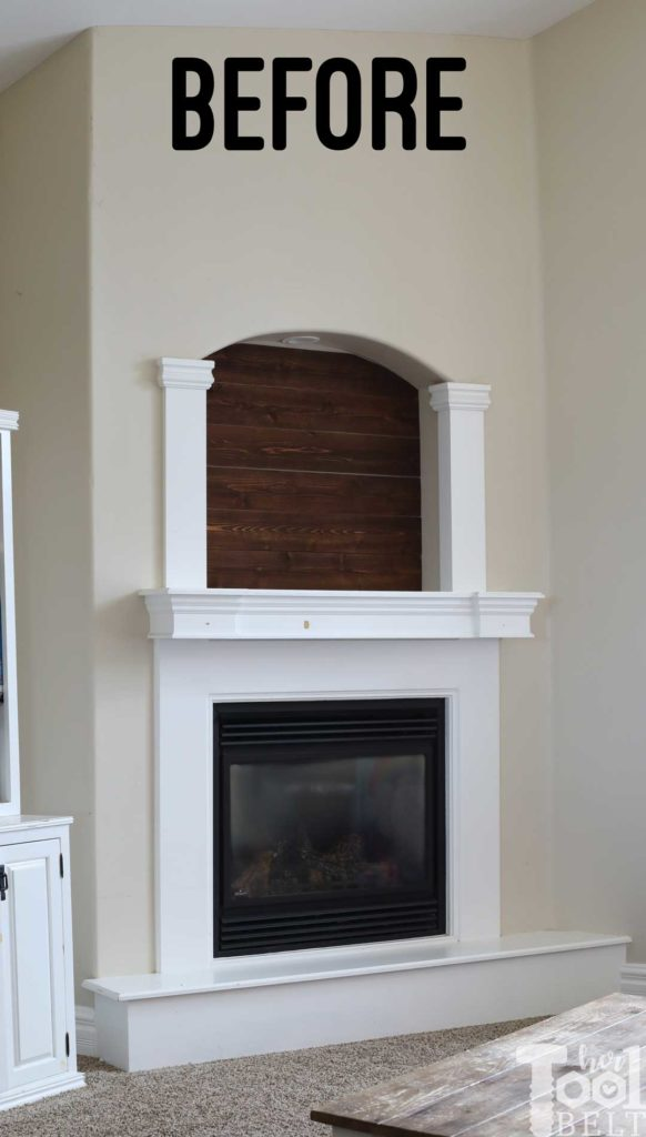Old builder grade fireplace mantel.