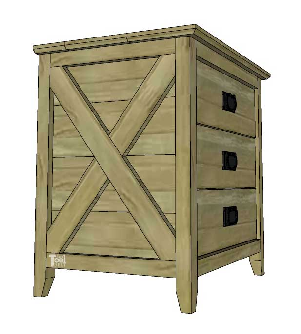 Perfect little Farmhouse Nightstands with 3 drawers and cute X detail. Free plans on hertoolbelt.com