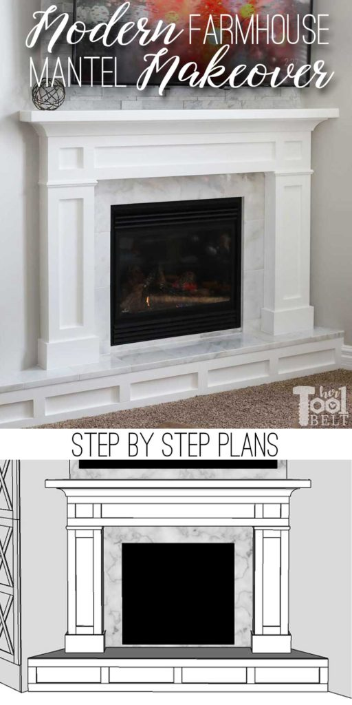 Updating an old builder grade fireplace, into a Modern Farmhouse Mantel. This white fireplace is set in the corner of the room, but the plans will work for corner or straight walls.