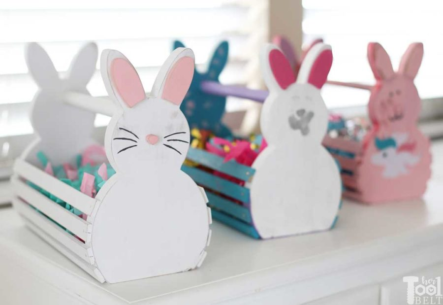 Build cute wood Easter Bunny Baskets for your kids or grandkids. Personalize their basket for them or let them decorate their own basket. #bunny