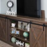 Barn Door Console Table with Hidden TV Lift