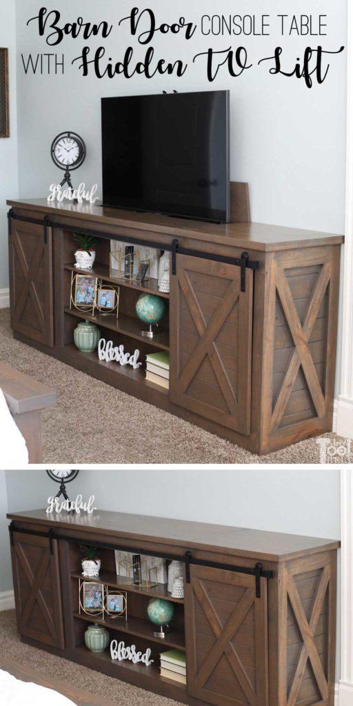 Build a sliding barn door console table with a secret...a hidden TV lift.