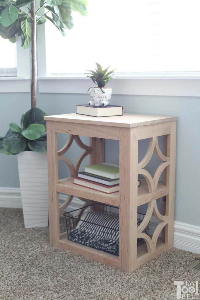 Build a end table with diamond details on the side panels.