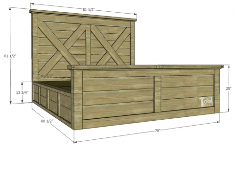 King X Barn Door Farmhouse Bed Plans Her Tool Belt