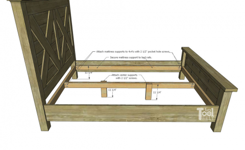 Queen X Barn Door Farmhouse Bed Plan Her Tool Belt