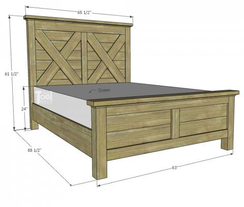 Queen X Barn Door Farmhouse Bed Plan, Queen Size Bed Rails