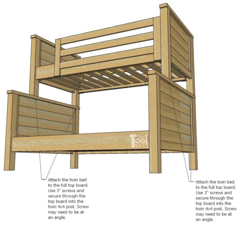 Farmhouse Style Twin Over Full Bunk Bed, Diy Bunk Bed Plans Twin Over Queen